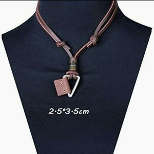 Other - Unisex Brown Leather&Stainless Steel Necklace